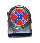 Confederate Flag All Metal Note Holder Magnet